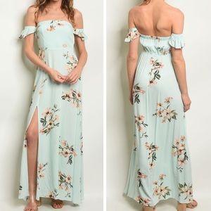Dresses & Skirts - Mint Floral Off the Shoulder Maxi Dress